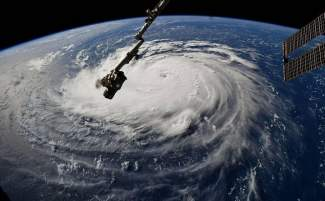 photo of hurricane from space