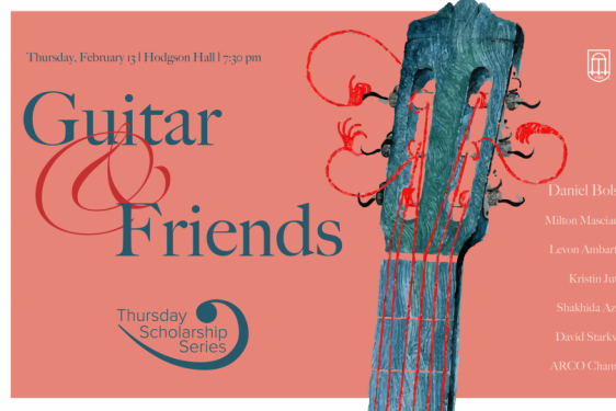 fuchsia graphic with guitar neck and text