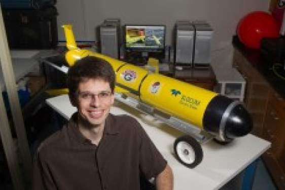 researcher with glider