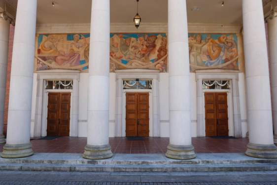 photo of portico mural, with columns