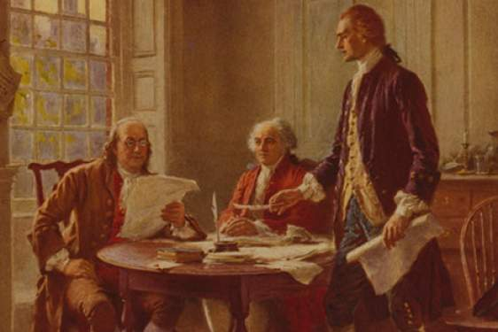 painting of three men at a table, two seated, with papers and window