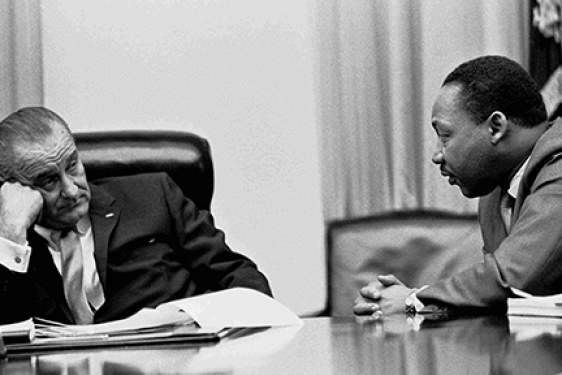 b/w photo of MLK and LBJ