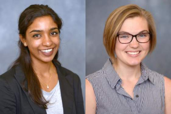 headshots of two women students