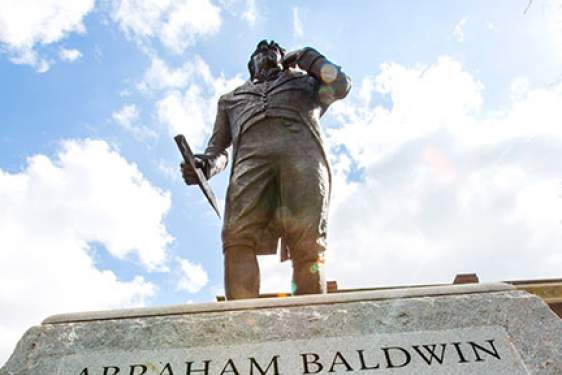 Baldwin statue from below