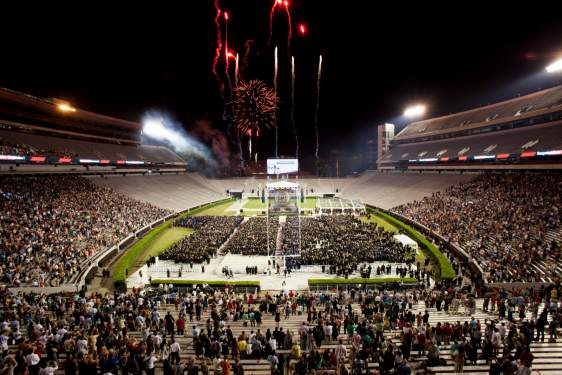 photo of stadium with fireworks at commencement