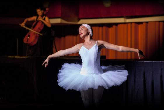 photo of ballerina, with cellist in the background