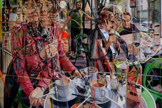 cubist painting collage with people and coffee cups
