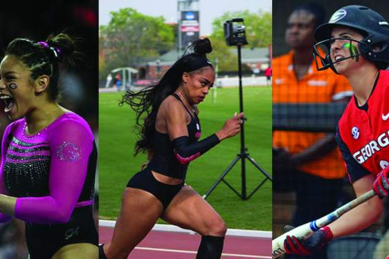 collage of three photos of women athletes