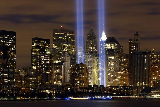 light beams projected a world trade center towers
