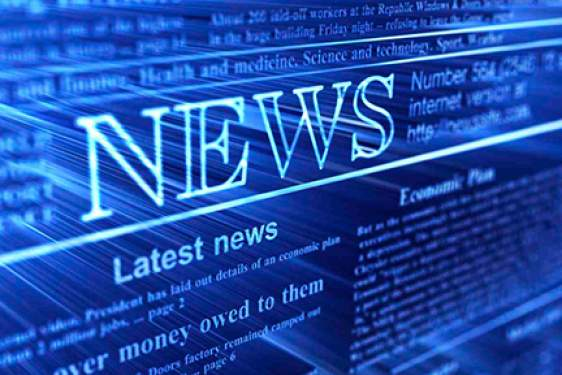news graphic in blue
