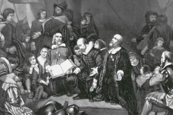 black and white engraving of puritan discussion and service